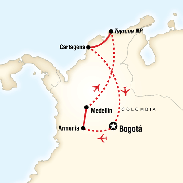 Colombia Journey Itinerary Map