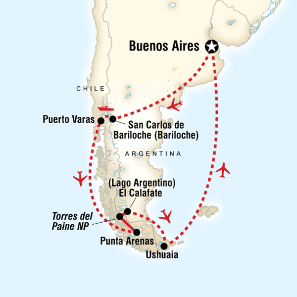 Discove Patagoina Itinerary Map